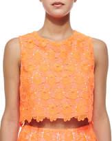 A.L.C. Adriana Floral-Lace Crop Top