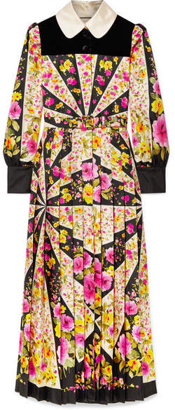 Gucci Velvet-trimmed Pleated Floral-print Silk-twill Maxi Dress - Pink