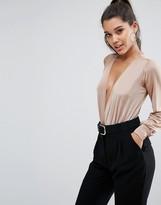 Lipsy Plunge Slinky Long Sleeve Bodysuit