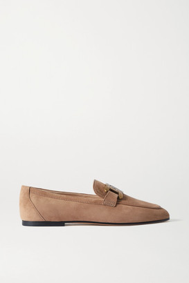 Tod's Catena Embellished Suede Loafers - Beige