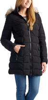 Laundry by Shelli Segal Black Faux Fur-Trim Hooded Puffer Coat