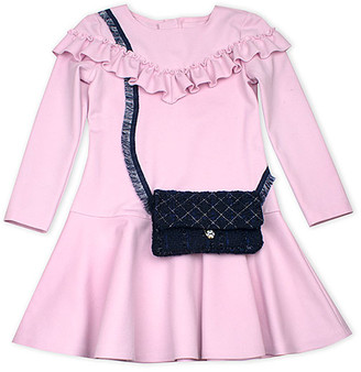 Biscotti Girls' Special Occasion Dresses PINK - Pink Ruffle-Trim Floral Clasp Bag A-Line Dress - Toddler