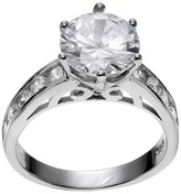 Journee Collection 1 1/10 CT. T.W. Round-cut CZ Prong Set Filigree Engagement Ring in Sterling Silver