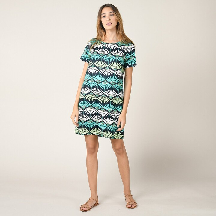 Thumbnail for your product : Molly Bracken Printed Crew Neck Dress with Short Sleeves