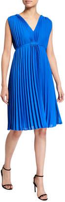 Max Studio Sleeveless V-Neck Pleated Dress