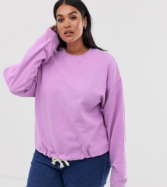 Asos DESIGN Curve oversized sweatshirt with rope trim hem-Purple