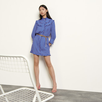 Sandro Long-sleeved printed mini dress