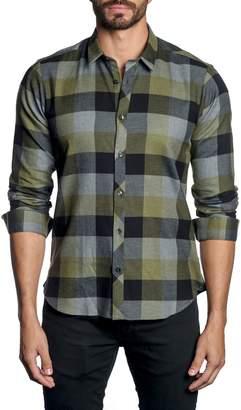 Jared Lang Plaid-Print Long-Sleeve Button-Down Shirt
