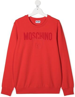 MOSCHINO BAMBINO TEEN logo-print cotton sweatshirt