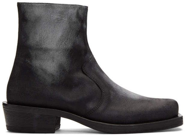 Acne Studios Black and White Leather Boots