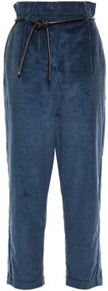 Brunello Cucinelli Belted Cotton And Cashmere-blend Corduroy Tapered Pants