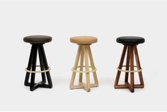 "Artless X3 30"" Swivel Bar Stool Seat Color: Olive, Frame Color: Walnut, Ring Color: Brass"