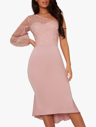Chi Chi London Krissie Floral Embroidery Asymmetric Hem Dress, Blush