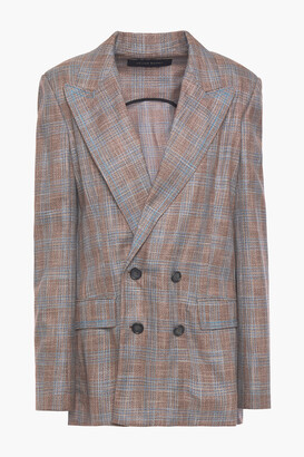 Roland Mouret Salvatore Double-breasted Open-back Checked Bamboo Blazer
