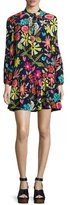 Trina Turk Corozone Long-Sleeve Floral Silk Shift Dress, Blue