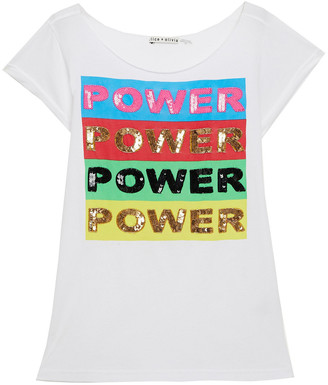 Alice + Olivia Sequin-embellished Printed Cotton-jersey T-shirt