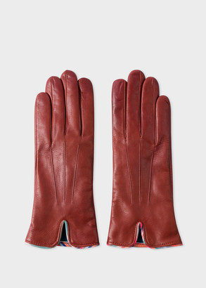 Paul Smith Women's Tan Leather Gloves With 'Swirl' Piping