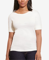 Lauren Ralph Lauren Plus Size Stretch Boat-Neck T-Shirt
