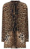 Saint Laurent Leopard-printed silk minidress
