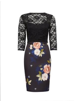 Dorothy Perkins Womens Multi Colour Printed Lace Top Bodycon Dress, Multi Colour