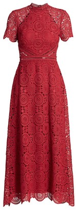 ML Monique Lhuillier Lace Short-Sleeve A-Line Dress