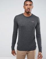 Hollister Falem Crew Neck Sweater Icon Logo Raglan in Gray Marl