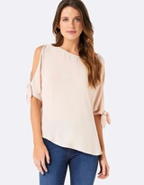 Forever New Lily Cold-Shoulder Tie Sleeve Blouse