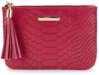 GiGi New York Python-Embossed Leather Pouch