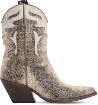 Elena Iachi 70mm Lizard Print Leather Cowboy Boots