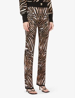 ART DEALER Metallic jacquard-pattern high-rise knitted trousers