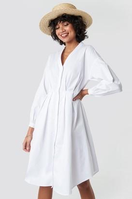 NA-KD Gathered Waist Shirt Dress White