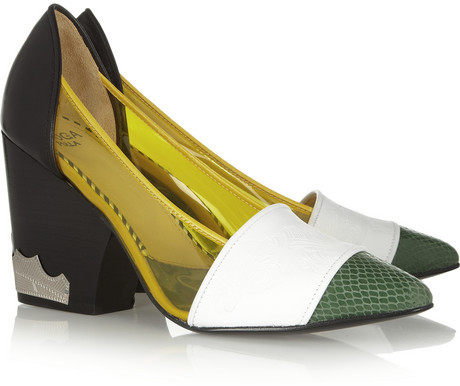 Toga Pulla Leather, PVC and snake-effect pumps