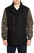 French Connection Men's Passenger Mix Media Peacoat