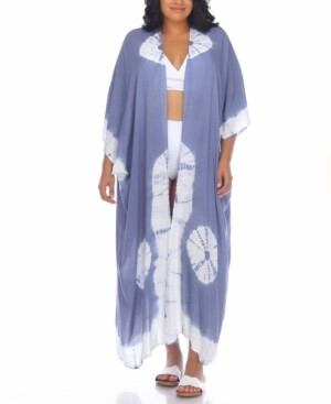 Raviya Plus Size Tie-Dye Kimono Cover-Up Women's Swimsuit