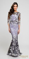 Terani Couture Three-quarter Sleeve Lace Floral Trumpet Evening Dress