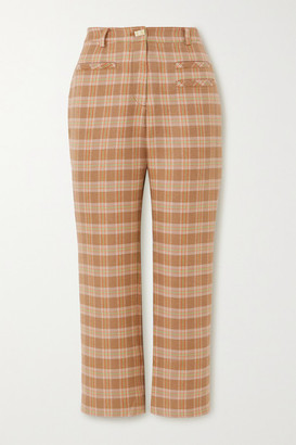 REJINA PYO Cropped Checked Tweed Straight-leg Pants - Neutral