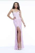 Faviana Strapless Sweetheart Lace Illusion Evening Gown with High Slit S7328