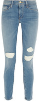 Frame Le Skinny De Jeanne Distressed Mid-rise Jeans - Light denim