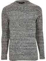 River Island MensBlack twist slim fit sweater