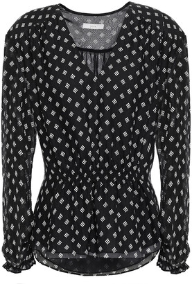Joie Chiana Printed Hammered-silk Peplum Blouse