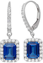 Fine Jewelry Lab-Created Blue Sapphire & White Sapphire Sterling Silver Earrings