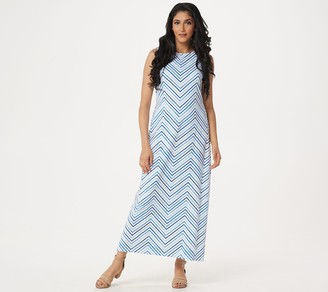 Denim & Co. Petite Printed Jersey Sleeveless Maxi Dress