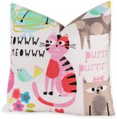 Crayola Purrty Cat 18-Inch Square Throw Pillow in Pink/White