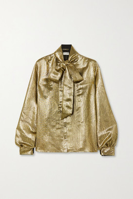 Saint Laurent Pussy-bow Silk-blend Lame Blouse - Gold