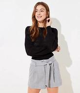 LOFT Petite Plaid Tie Waist Shorts