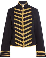Figue Regiment Embroidered Cotton And Linen-blend Twill Jacket - Midnight blue
