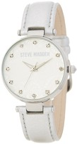 Steve Madden Women's Paisley-Embossed Crystal Leather Strap Watch