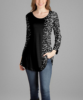 Lily Black & White Dot Scoop Neck Tunic - Plus Too