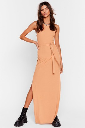 Nasty Gal Womens Slit 'Em Up Belted Maxi Dress - Peach