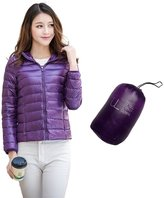 Oriental Pearl Women's Fashion Solid Ultra Light Zip-up Hooded Short Down Jacket
